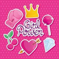 letras de poder feminino com conjunto de ícones vetor