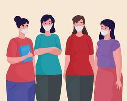 grupo de mulheres usando personagens de máscaras médicas vetor