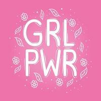 letras do poder feminino com folhas e flores em fundo rosa vetor