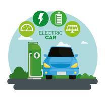 alternativa ecológica de carro elétrico azul na estação de carga vetor