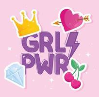 letras girl power com conjunto de ícones de estilo pop art vetor