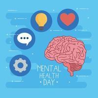 dia de saúde mental com cérebro e conjunto de ícones de design vetorial vetor
