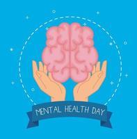 dia de saúde mental com design de vetor de cérebro sobre mãos