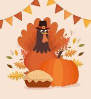 cartão de celebração feliz dia de graças com peru e torta vetor