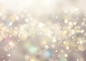Fundo de Natal de luzes de bokeh e estrelas vetor