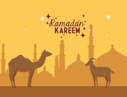pôster ramadan kareem com camelos vetor