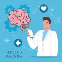 dia de saúde mental com cérebro e homem desenho vetorial de médico vetor