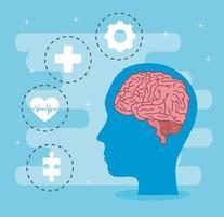 saúde mental do cérebro na cabeça e desenho vetorial de conjunto de ícones vetor