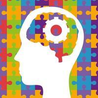 saúde mental do cérebro de quebra-cabeças em design de vetor de cabeça