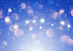 Fundo de flocos de neve e estrelas de Natal