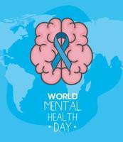 dia mundial da saúde mental com fita no desenho vetorial de cérebro vetor