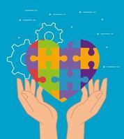 saúde mental de quebra-cabeças de coração sobre design de vetor de mãos