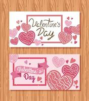 conjunto de cartões de feliz dia dos namorados vetor