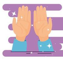 mãos recebendo com decoração brilhante vetor