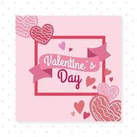 cartão de feliz dia dos namorados com moldura quadrada e corações vetor