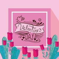 cartão de feliz dia dos namorados com decoração de rosas vetor
