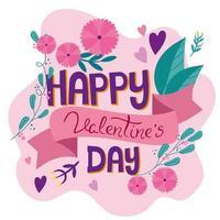 cartão de feliz dia dos namorados com decoração de flores vetor