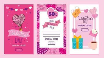 conjunto de cartões de feliz dia dos namorados com oferta vetor