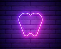 ícone de néon de dente. assinar para clínica odontológica. ícone brilhante do conceito de ortodontia isolado no fundo da parede de tijolo. vetor