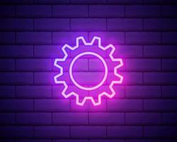 engrenagem, manutenção. ícone de vetor de néon rosa. símbolo de engrenagem brilhante isolado no fundo da parede de tijolo.