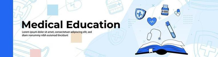 educação médica web banner design.open livro razão com medicina, saúde e ferramentas médicas. banner de cabeçalho ou rodapé. vetor