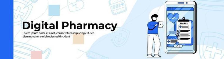 design de banner da web de loja de farmácia digital. um homem compra um medicamento em uma farmácia on-line. banner de cabeçalho ou rodapé de prescrição médica. vetor