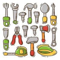 conjunto de ferramentas de construção desenhadas à mão. vetor