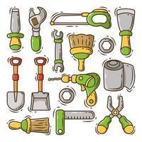 conjunto de conjunto de doodle de desenho de equipamento de construção desenhado à mão vetor
