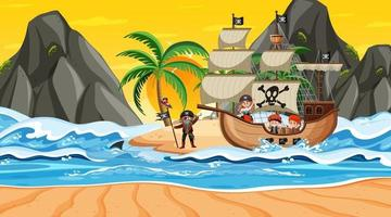 ilha com navio pirata na cena do pôr do sol em estilo cartoon vetor