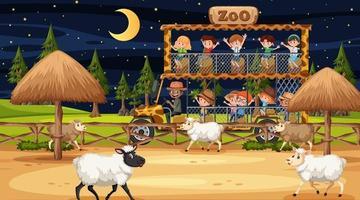 safári noturno com muitas crianças assistindo um grupo de ovelhas vetor
