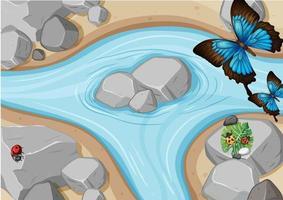vista superior da cena do rio com borboleta e joaninhas vetor