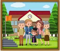 foto de família feliz em uma moldura vetor