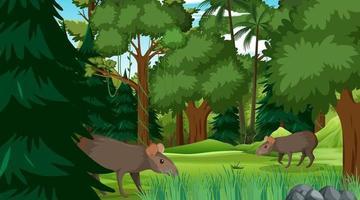 família capivara em floresta ou cenário de floresta tropical com muitas árvores vetor