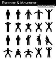 exercício e movimento. mover passo a passo. vetor de homem simples vara plana. conceito médico, científico e de saúde.