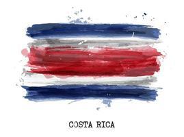 Bandeira de aquarela pintura realista da costa rica. vetor. vetor