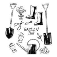 esboço conjunto de vetores de ferramentas de jardinagem. pá, pá, vaso de plantas, luvas, botas, tesoura e regador ilustrações desenhadas à mão