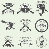 design de elementos de caça e pesca vetor