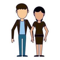 desenho de casal namorado e namorada vetor