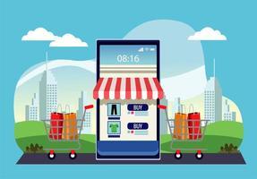tecnologia de compras online com fachada de loja em smartphone e carrinhos vetor