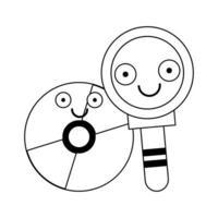 lupa e cd rom em preto e branco vetor