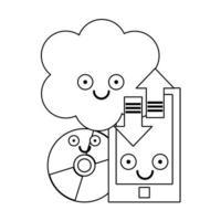 smartphone e computação em nuvem com cd rom em preto e branco vetor