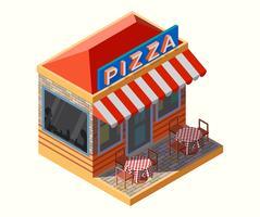 Ilustração isométrica de uma pizzaria,