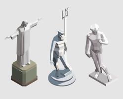 Conjunto de estátuas isométricas de vetor