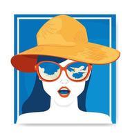 cartaz de viagens e rosto de mulher com chapéu feminino de verão vetor