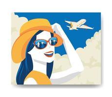 cartaz de viagens com mulher e avião vetor