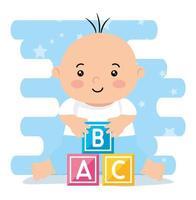 bebezinho fofo com cubinhos de brinquedo vetor