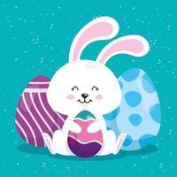coelho fofo com ovos de páscoa decorado vetor