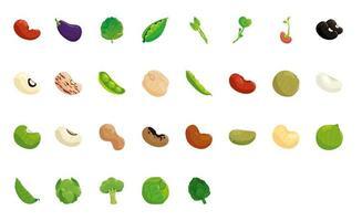 pacote de sementes e vegetais conjunto de ícones vetor