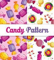 padrão de doces com deliciosos caramelos vetor
