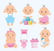 grupo de bebês fofos e ícones vetor